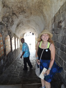 Delaney(trying to scurry out of the picture)  taking us through Brimstone Fort on St. Kitts.