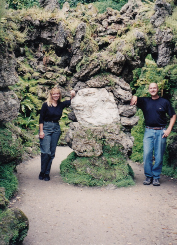 "Two kindred spirits in Powerscourt gardens, standing in our ""heart rock"""